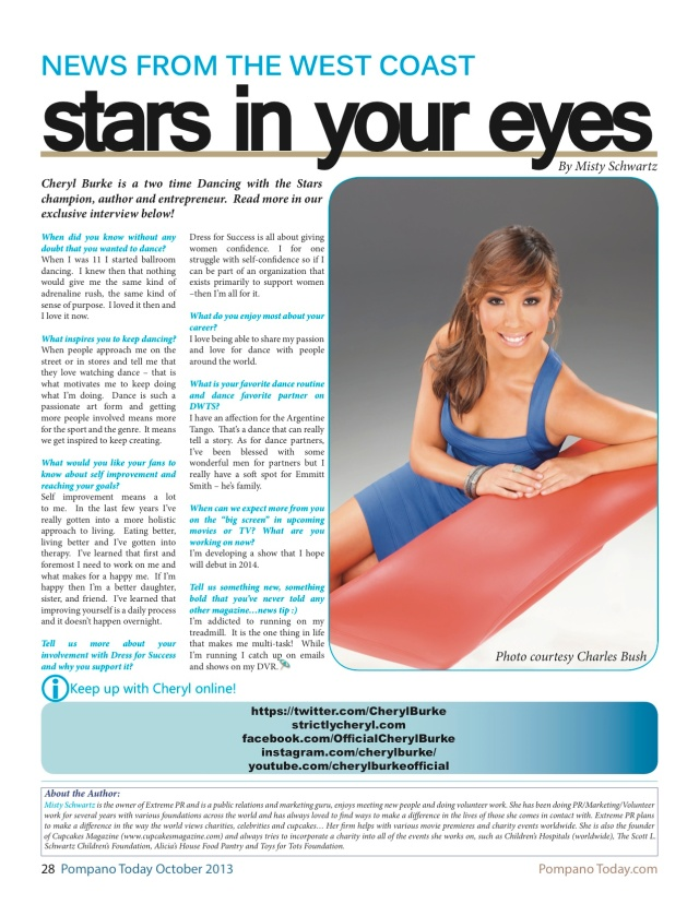 Pompano Today October 2013-Cheryl Burke article